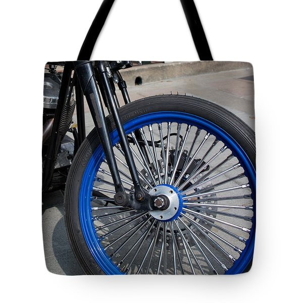 Front Wheel With Blue Rims And Fat Chrome Spokes Of Vintage Styl Tote Bag by Jason Rosette