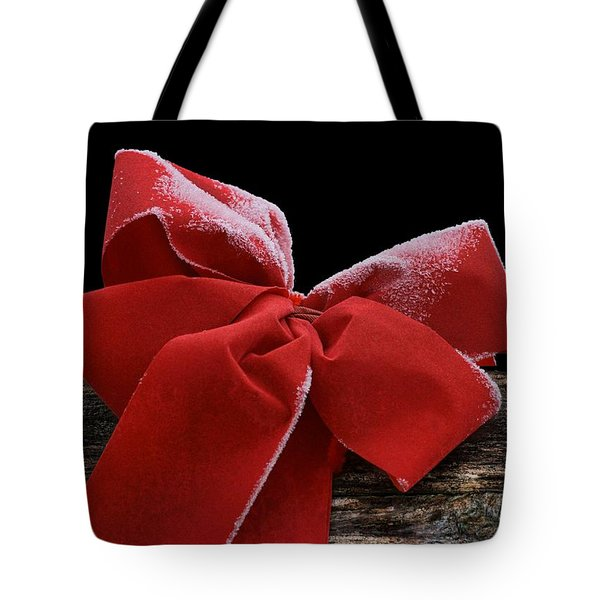 Tote Bag featuring the photograph Frosted Bow by Nikolyn McDonald