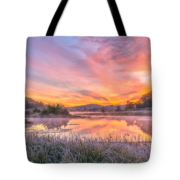 Frosted Dawn At The Wetlands Tote Bag