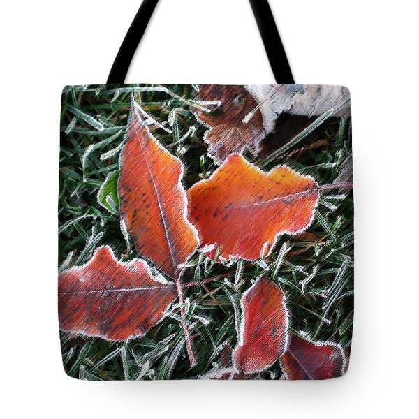 Tote Bag featuring the photograph Frosted Leaves by Shari Jardina