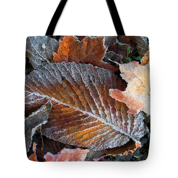 Tote Bag featuring the photograph Frosted Painted Leaves by Shari Jardina