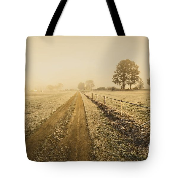 Frosted Road In Outback Australia Tote Bag