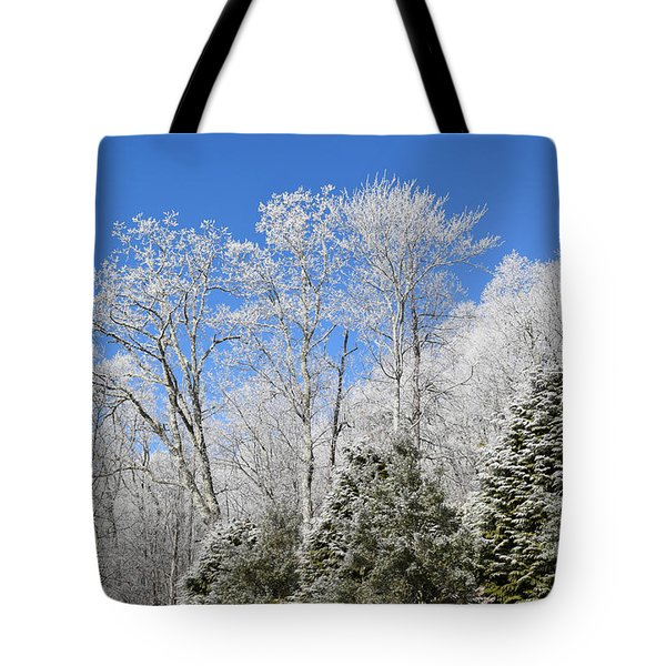 Frosted Trees Blue Sky 1 Tote Bag