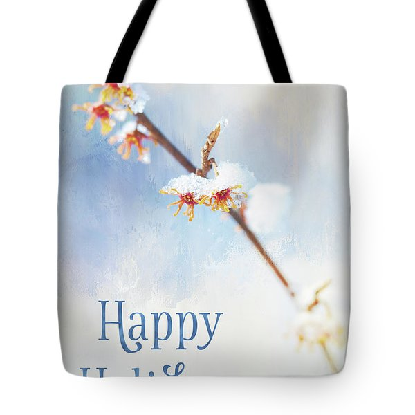 Frosted Witch Hazel Blossoms Holiday Card Tote Bag