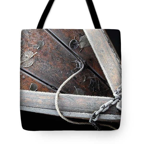 Frosty Boat Tote Bag by Robert Lacy