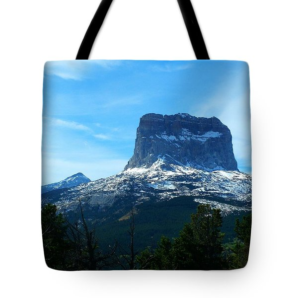 Frosty Chief Mountain Tote Bag
