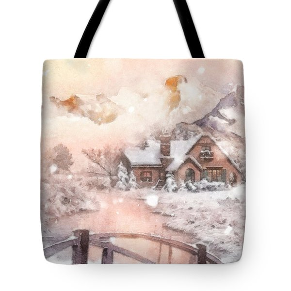 Tote Bag featuring the painting Frosty Creek by Mo T