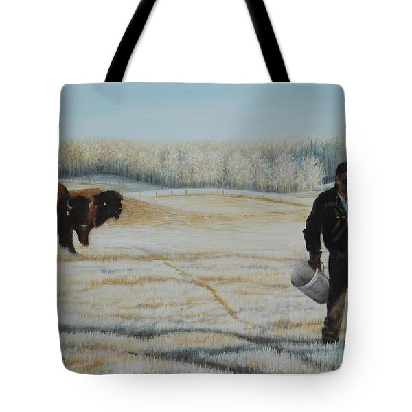 Tote Bag featuring the painting Frosty Feeding by Tammy Taylor