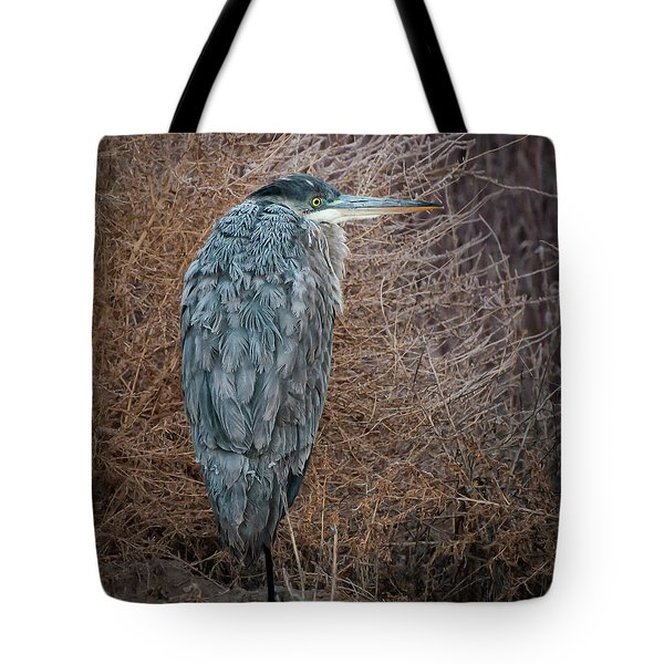 Tote Bag featuring the photograph Frosty Heron by Britt Runyon