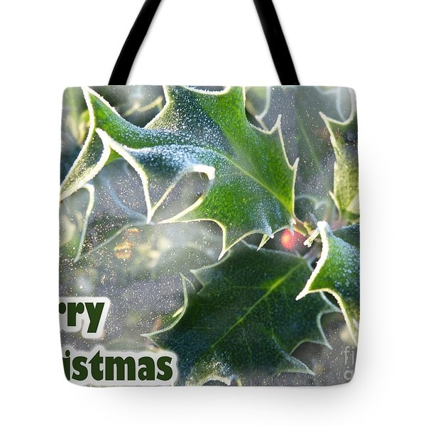 Tote Bag featuring the photograph Frosty Holly by LemonArt Photography