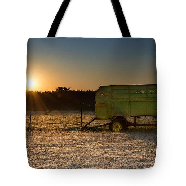 Frosty John Deere Sunrise Tote Bag