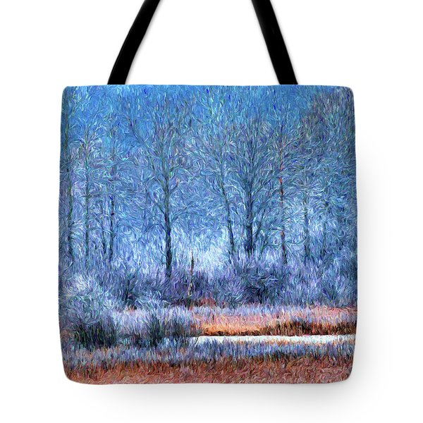 Tote Bag featuring the digital art Frosty Morning At The Marsh Photo Art by Sharon Talson