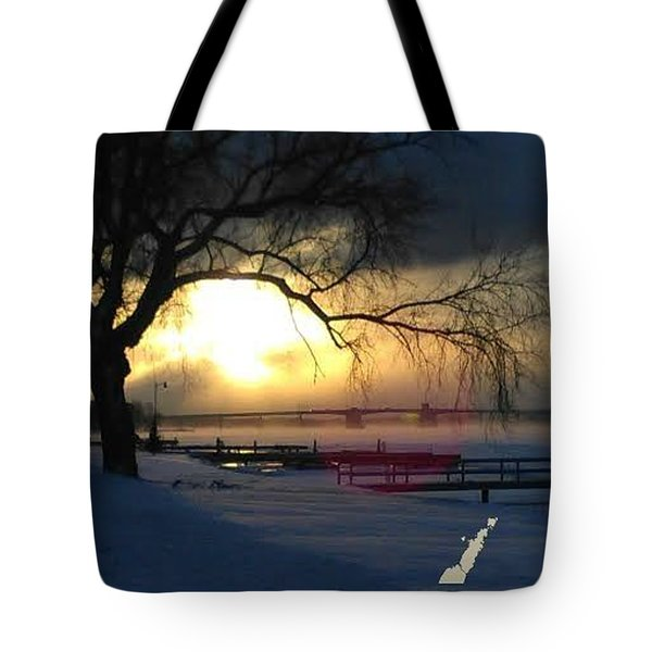 Tote Bag featuring the photograph Frosty Morning Sturgeon Bay Harbor by Perry Andropolis