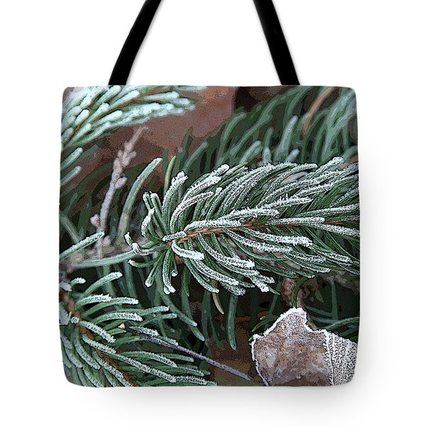 Frosty Pine Branch Tote Bag