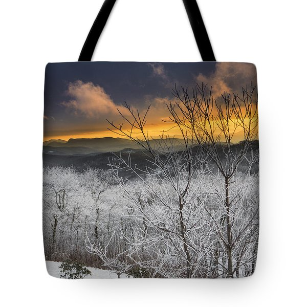 Tote Bag featuring the photograph Frosty Sunset by Ken Barrett