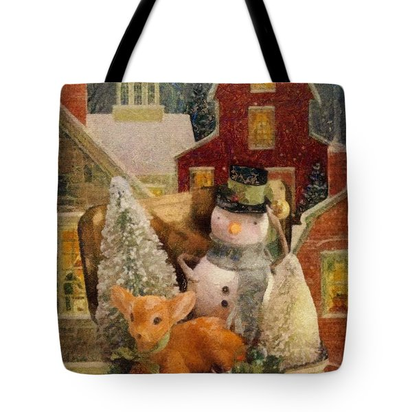 Tote Bag featuring the painting Frosty The Snowman by Mo T