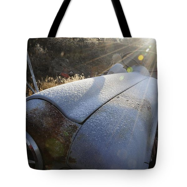 Tote Bag featuring the photograph Frosty Tractor by Susie Rieple