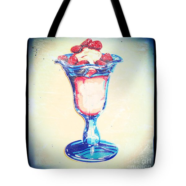 Frosty Vintage Strawberry Parfait Tote Bag