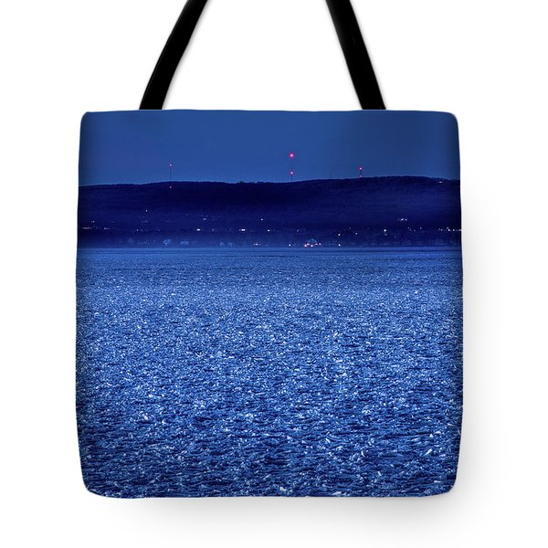 Tote Bag featuring the photograph Frozen Bay At Night by Onyonet  Photo Studios
