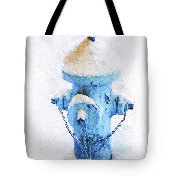 Tote Bag featuring the photograph Frozen Blue Fire Hydrant by Andee Design