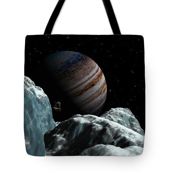 Tote Bag featuring the digital art Frozen Blue Gem by David Robinson