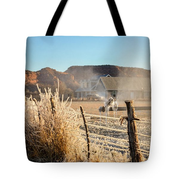 Frozen Blue Skies Tote Bag