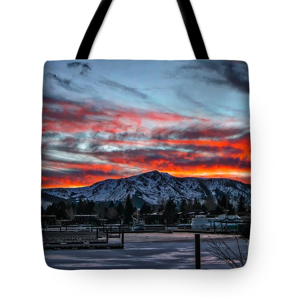 Tote Bag featuring the photograph Frozen Fire by Mitch Shindelbower