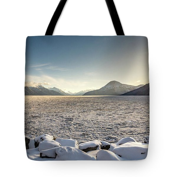 Frozen Fjord Sunrise Tote Bag