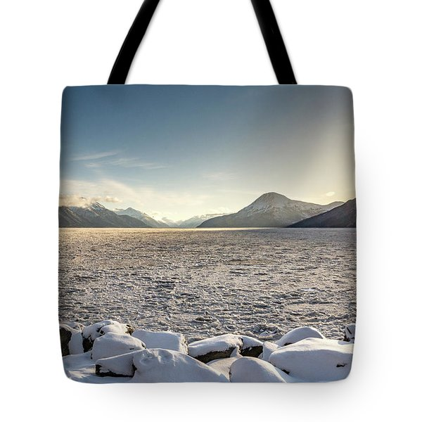 Frozen Fjord Sunrise Tote Bag
