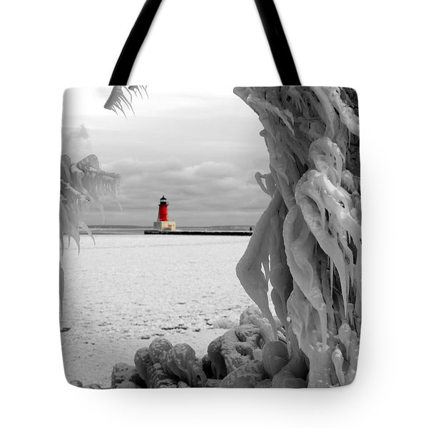 Tote Bag featuring the photograph Frozen In Time - Menominee North Pier Lighthouse by Mark J Seefeldt