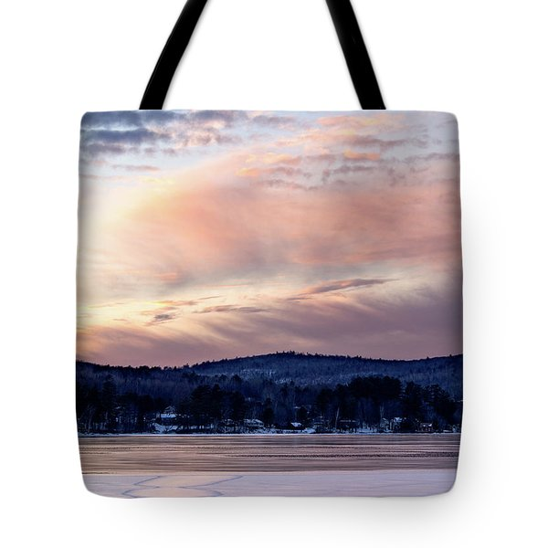 Frozen Lake Sunset In Wilton Maine  -78096-78097 Tote Bag