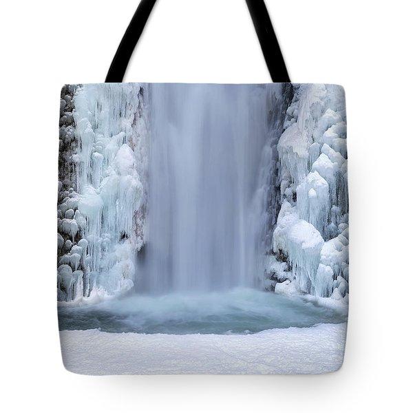 Frozen Multnomah Falls Closeup Tote Bag by David Gn