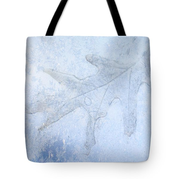 Frozen Oak Leaf Imprint Tote Bag by Kathy M Krause