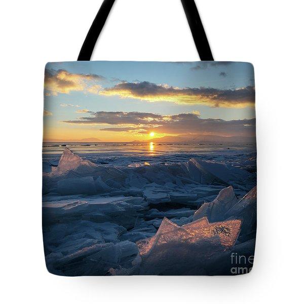 Frozen Sevan Lake And Icicles At Sunset, Armenia Tote Bag