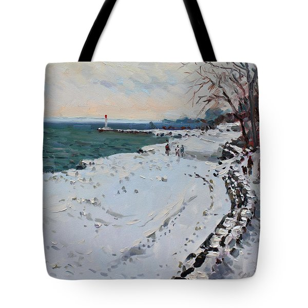 Frozen Shore In Oakville On Tote Bag