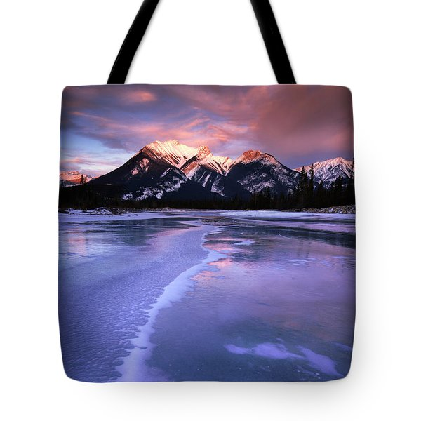 Frozen Sunrise Tote Bag by Dan Jurak