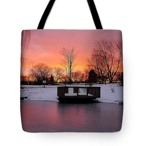 Frozen Sunrise Tote Bag by Frozen in Time Fine Art Photography