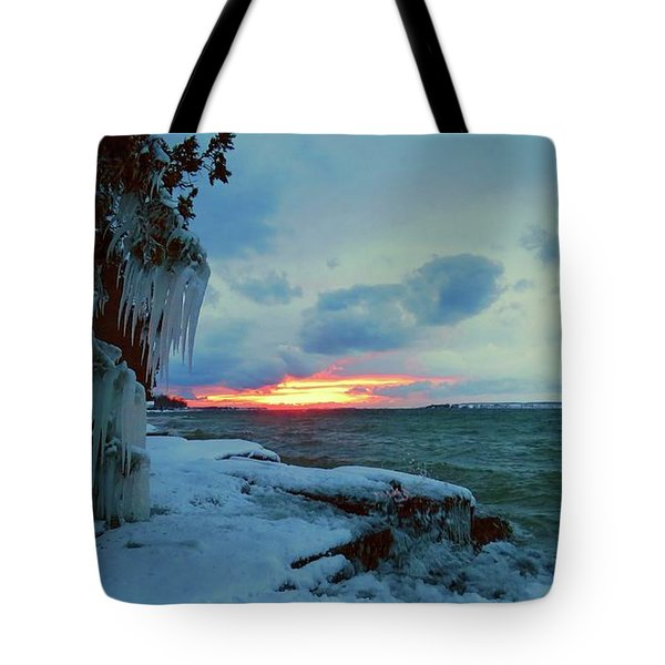 Frozen Sunset In Cape Vincent Tote Bag