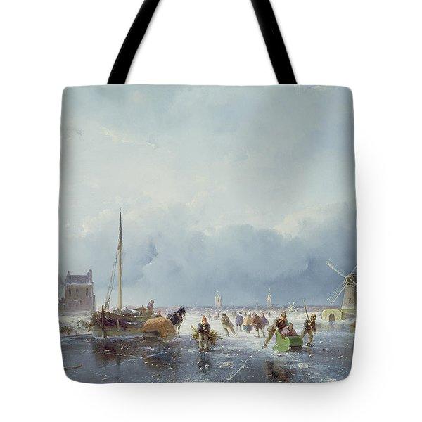 Frozen Winter Scene Tote Bag by Andreas Schelfhout