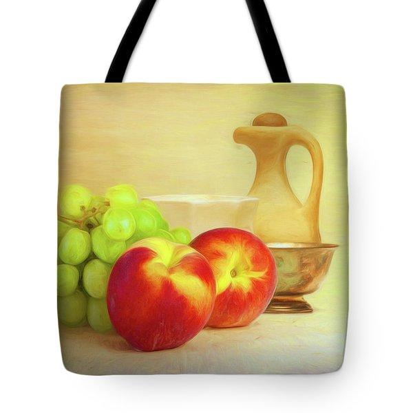 Fruit And Dishware Still Life Tote Bag