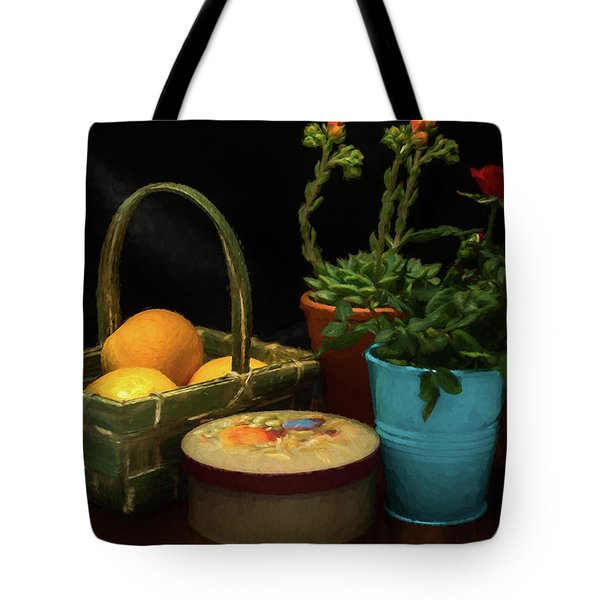 Fruit And Flowers Still Life Digital Painting Tote Bag