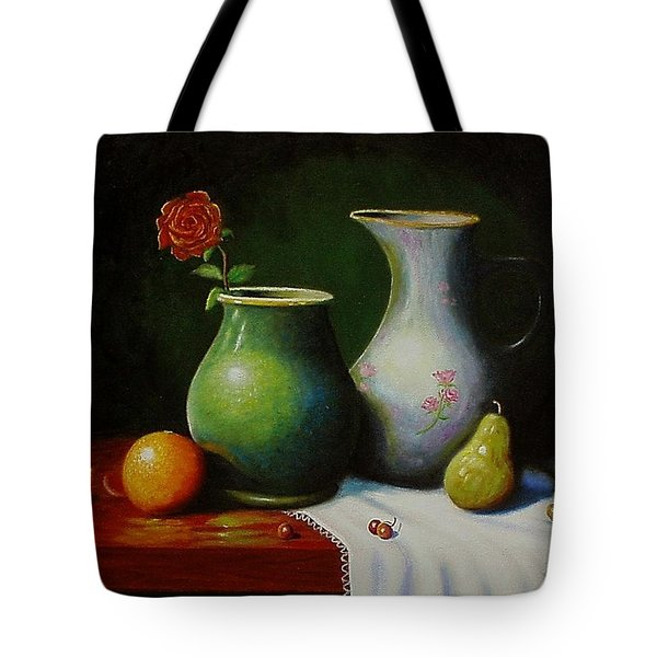 Fruit And Pots. Tote Bag by Gene Gregory