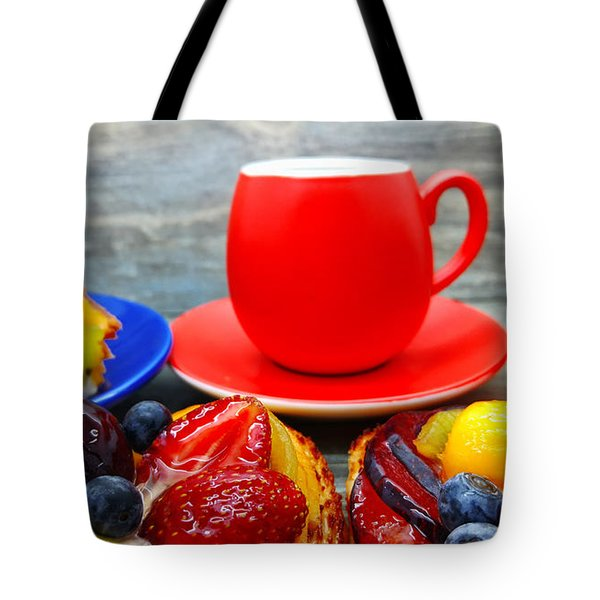 Fruit Desserts And Cup Of Coffee Tote Bag
