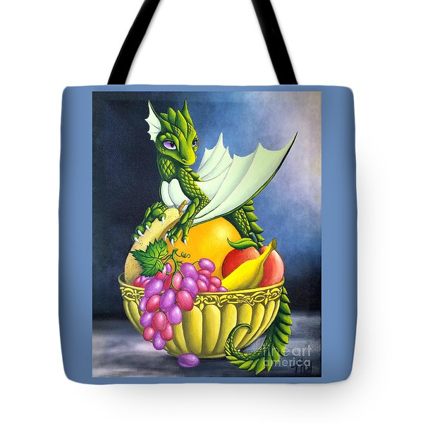 Tote Bag featuring the painting Fruit Dragon by Mary Hoy