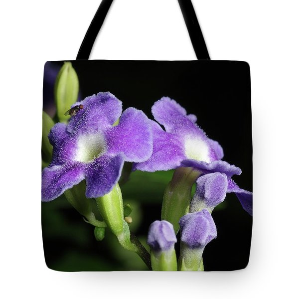 Tote Bag featuring the photograph Fruit Fly On Golden Dewdrop by Richard Rizzo