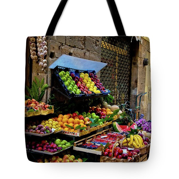 Tote Bag featuring the photograph Fruit Stand  by Harry Spitz