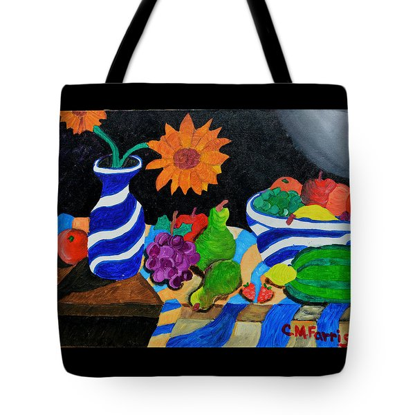 Tote Bag featuring the painting Fruitful Still Life by Christopher M Farris