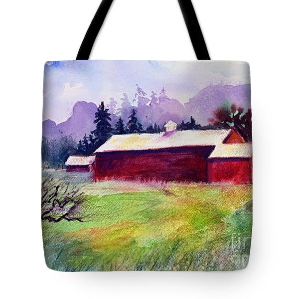 Tote Bag featuring the painting Fruitlands Museum II by Priti Lathia