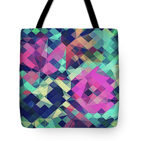 Fruity Rose   Fancy Colorful Abstraction Pattern Design  Green Pink Blue  Tote Bag