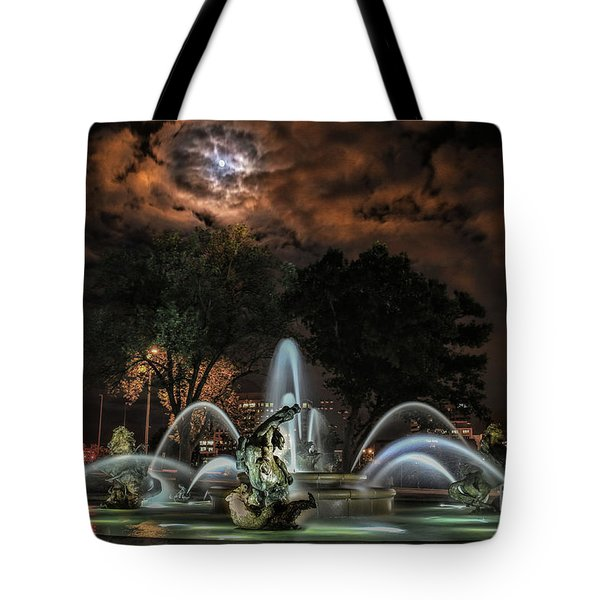 Full Moon At The Fountain Tote Bag